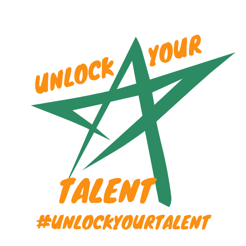 Unlock your talent logo: the words in orange around a green star