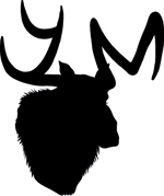 YM logo: Outline of a moose whose antlers spell YM