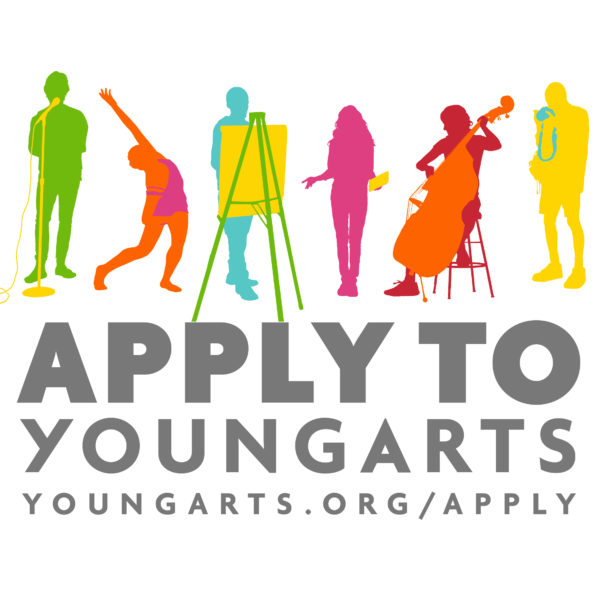 "Graphic of lots of people doing creative things like playing the cello or painting on a canvas, with the text ""Apply to YoungArts"""