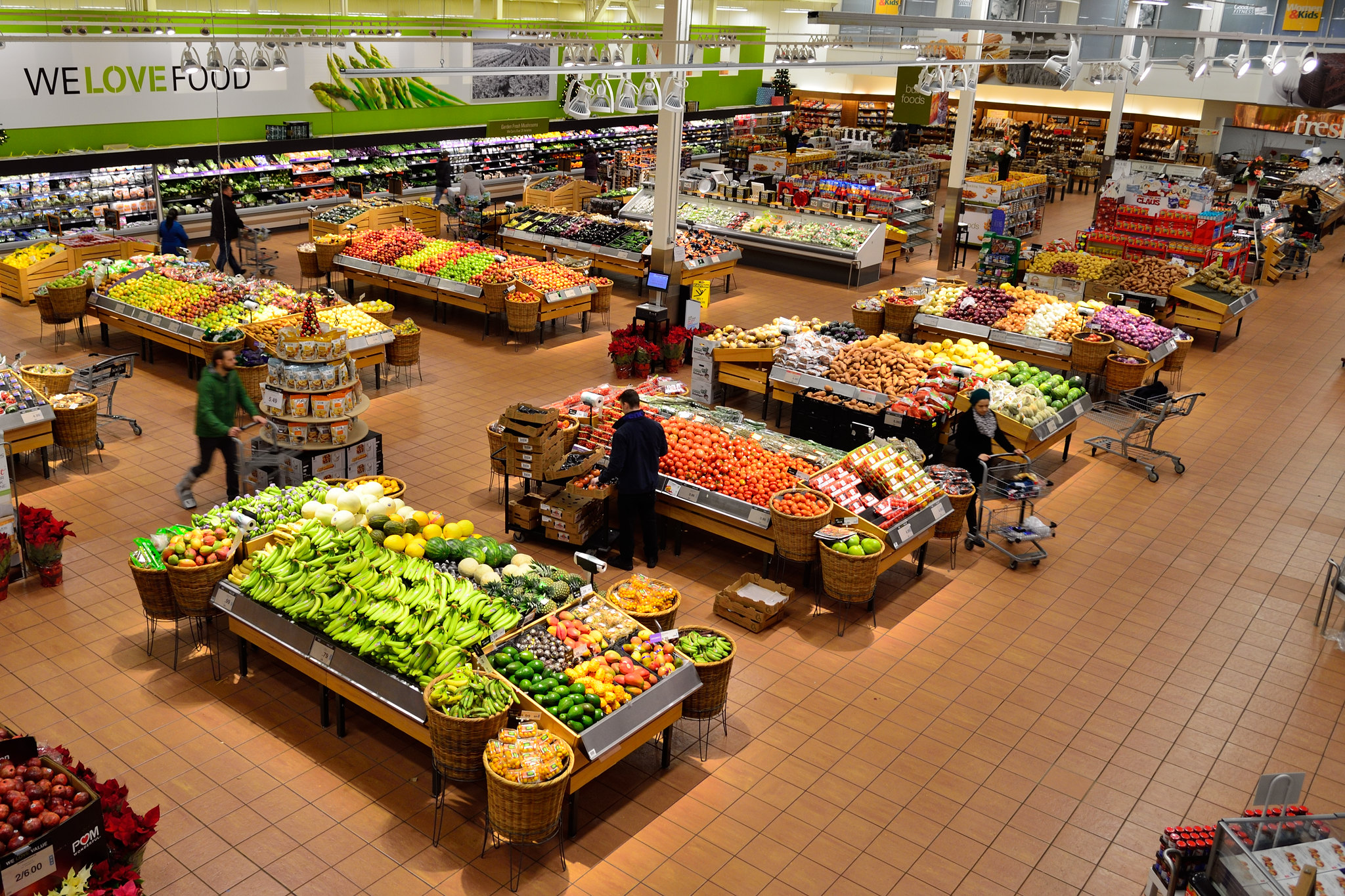 Aerial view of a supermarket fruit and vegetable section - clean and bright and well spaced out