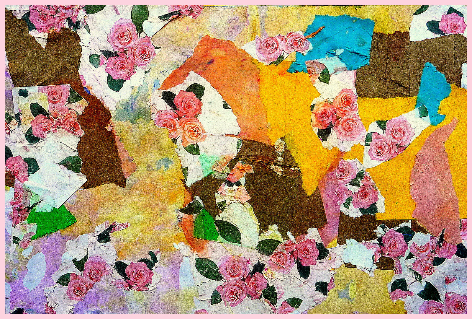 collage including roses on wallpaper, other brightly coloured paper