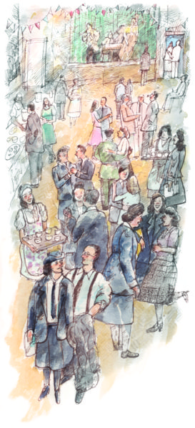 image of a crowded room in which people at Bletchley dance and mingle