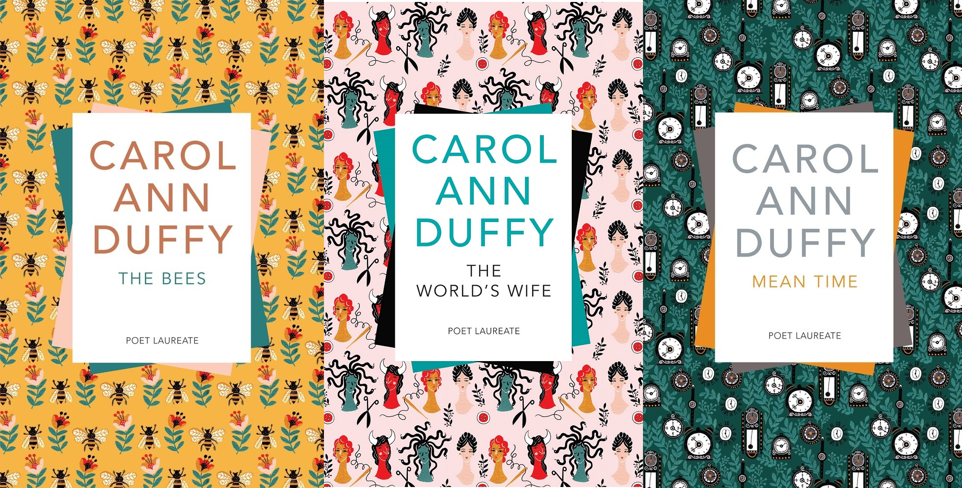 Carol Ann Duffy's book covers, left to right: The Bees, The World's Wife, Mean Time