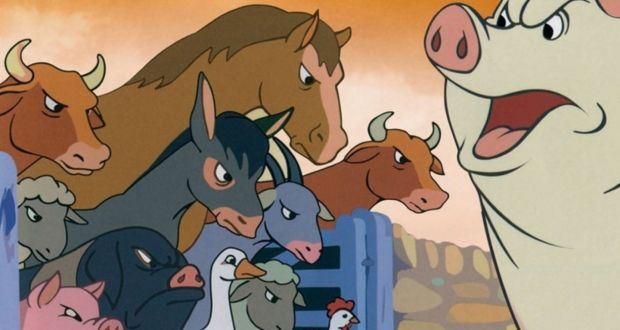 Cartoon of a pig seeming to shout at a variety of other farmyard animals who stare angrily back