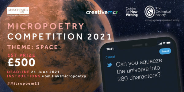 """Micropoetry competition 2021, theme space, prize £500. """"Can you fit the universe into 280 characters?"""""""