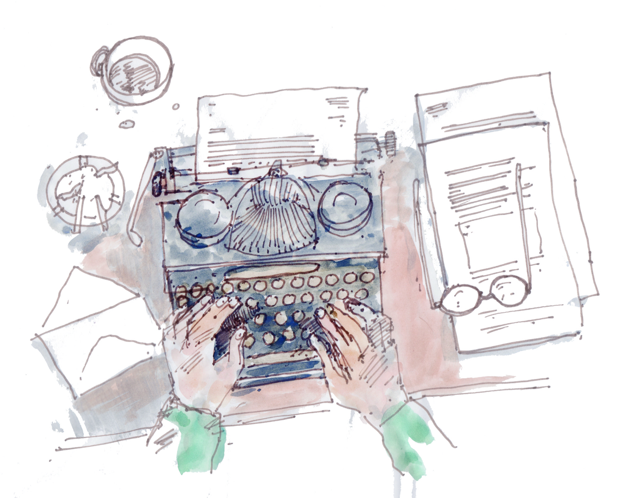 illustration of hands typing on a typewriter seen from above, on a cluttered desk