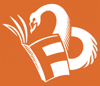 Felix Dennis Prize logo - white swan reading a book with an F on the cover, on an orange background