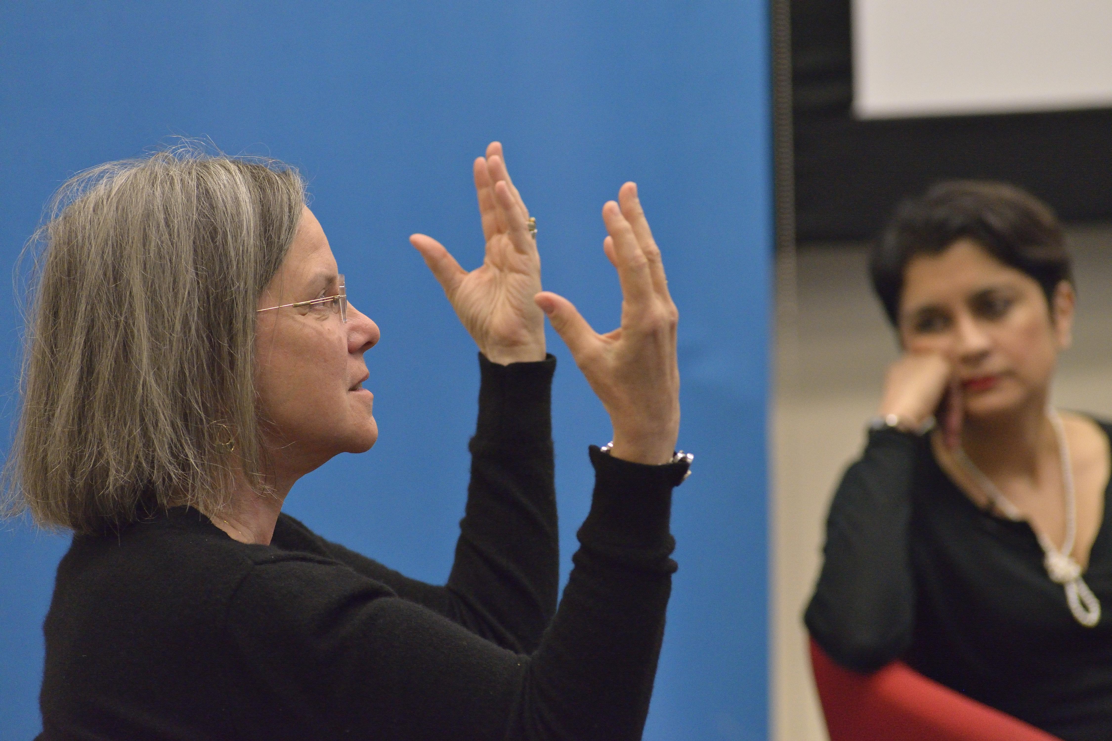 Carolyn Forché in conversation with Shami Chakrabarti. Photo: Jeff Wilson