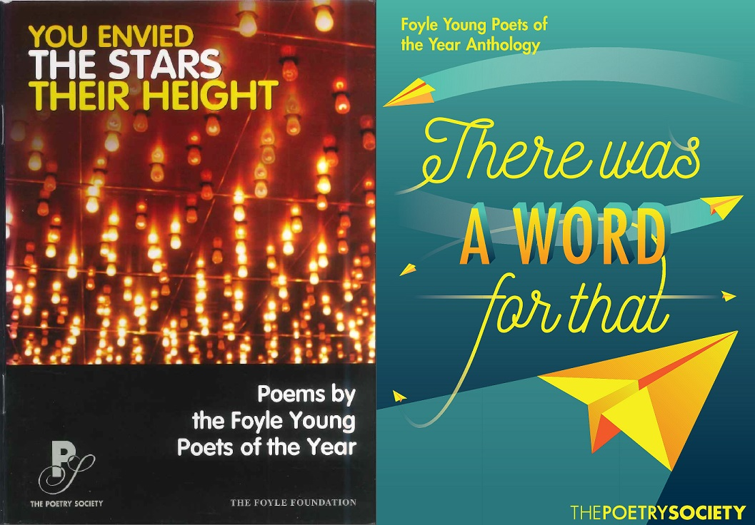 Covers of two anthologies, one with lights in the background, and the second with a yellow paper aeroplane flying into a teal background