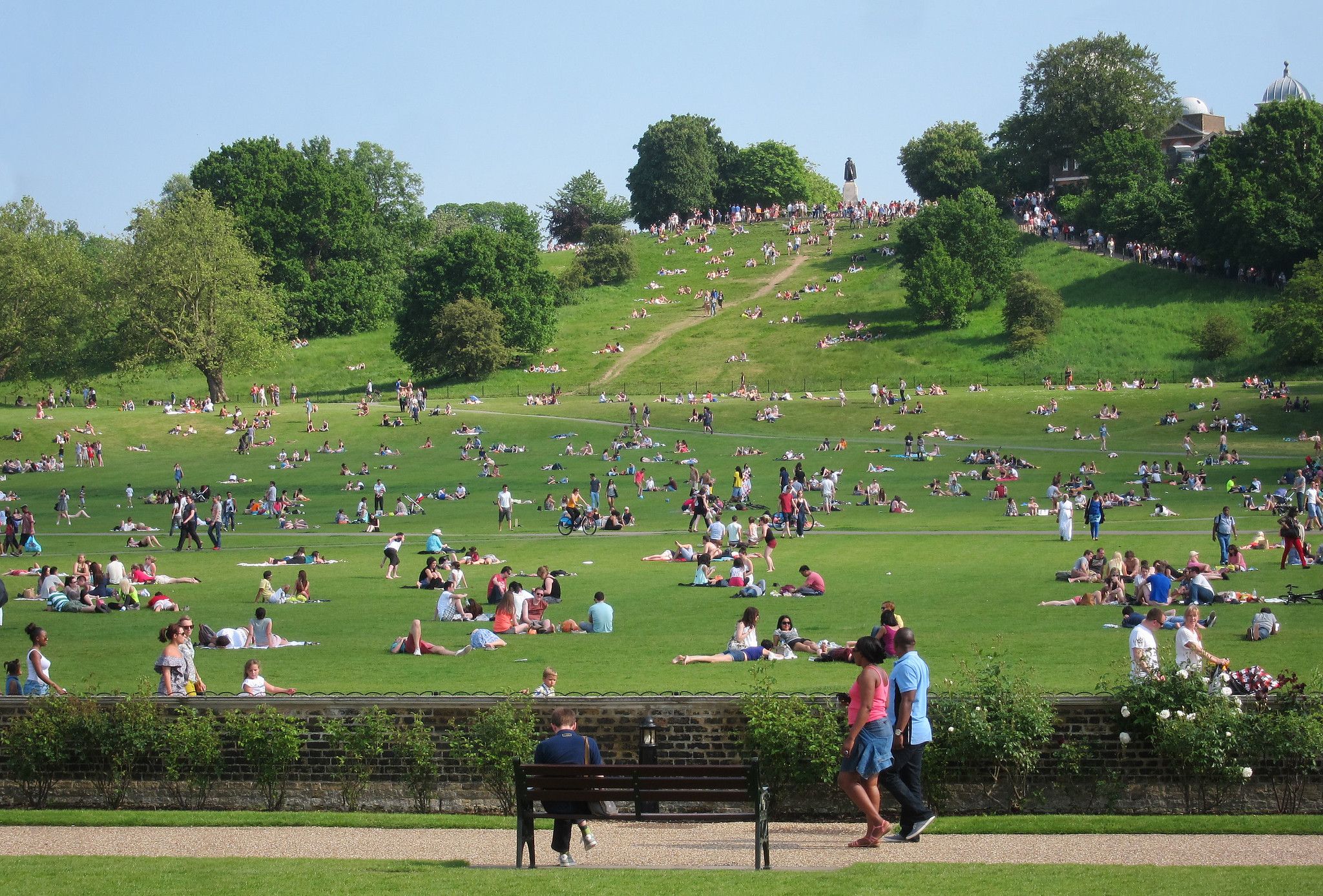 Photo of Greenwich Park with a hill in the distance, and small groups of people dotted around