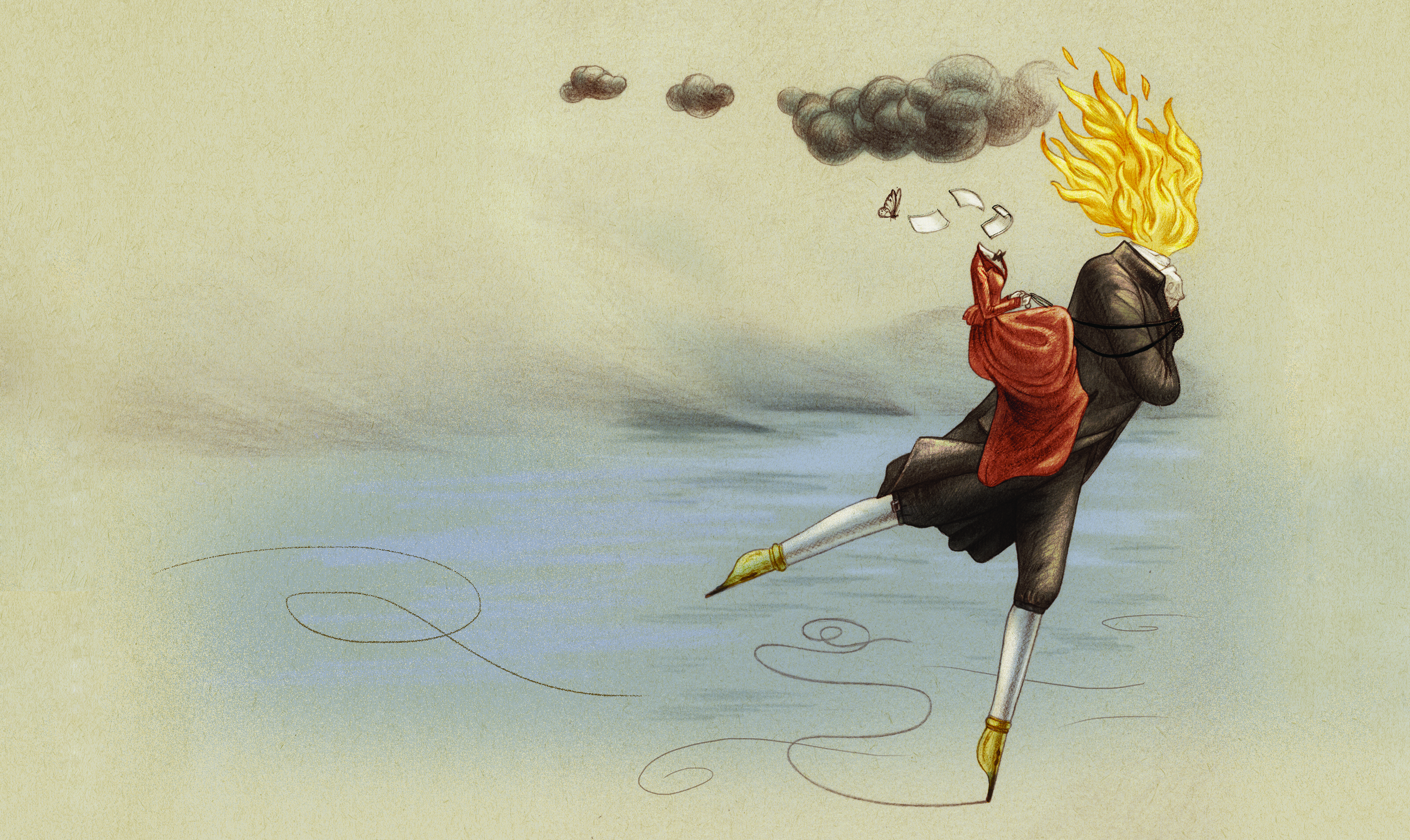National Poetry Competition artwork: a figure with flames for a head and fountain pens for legs leans forward, leg outstretched, with a figure in a red dress sitting on their back and a grey cloud in the sky