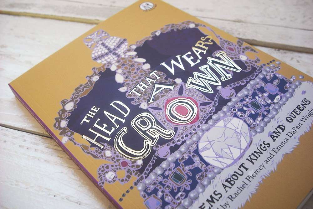 photo of THe Head That Wears A Crown book, viewed from the side. The cover art is an illustrated purple crown with the title in gold foiling.
