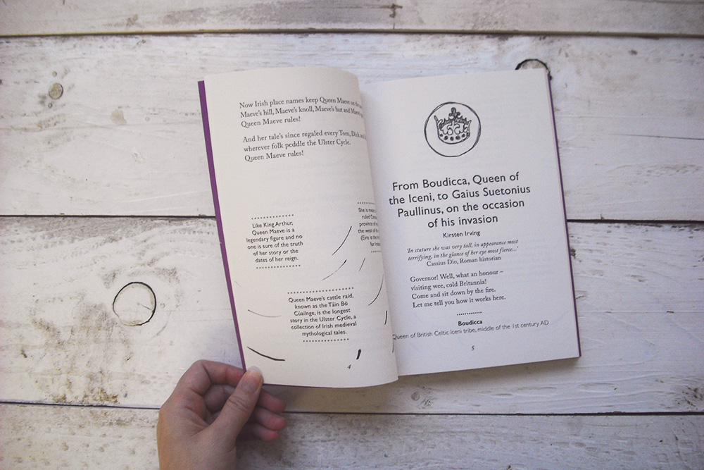 """photo of The Head That Wears A Crown book, opened to one page. The heading reads """"From Boudicca, Queen of the Iceni, to Gaius Suetonius Paullinus, on the occasion of his invasion"""""""