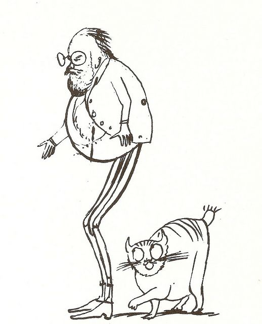 sketch of Lear and his cat