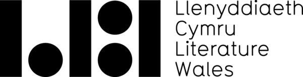 Llenyddiaeth Cymru / Literature Wales logo, with black lines and dots