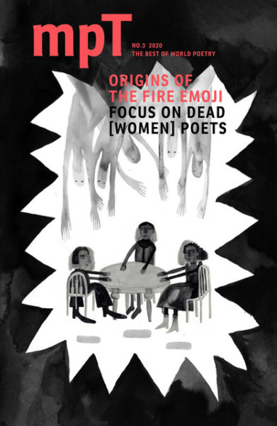 MPT cover: Dead Women Poets focus, black and white illustration of a séance and spirits reaching down