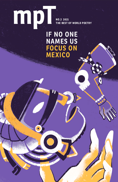 MPT cover for If No-one Names us: Focus on Mexico. Abstract graphic of a figure opening their mouth towards a disembodied elbow with a skull on it