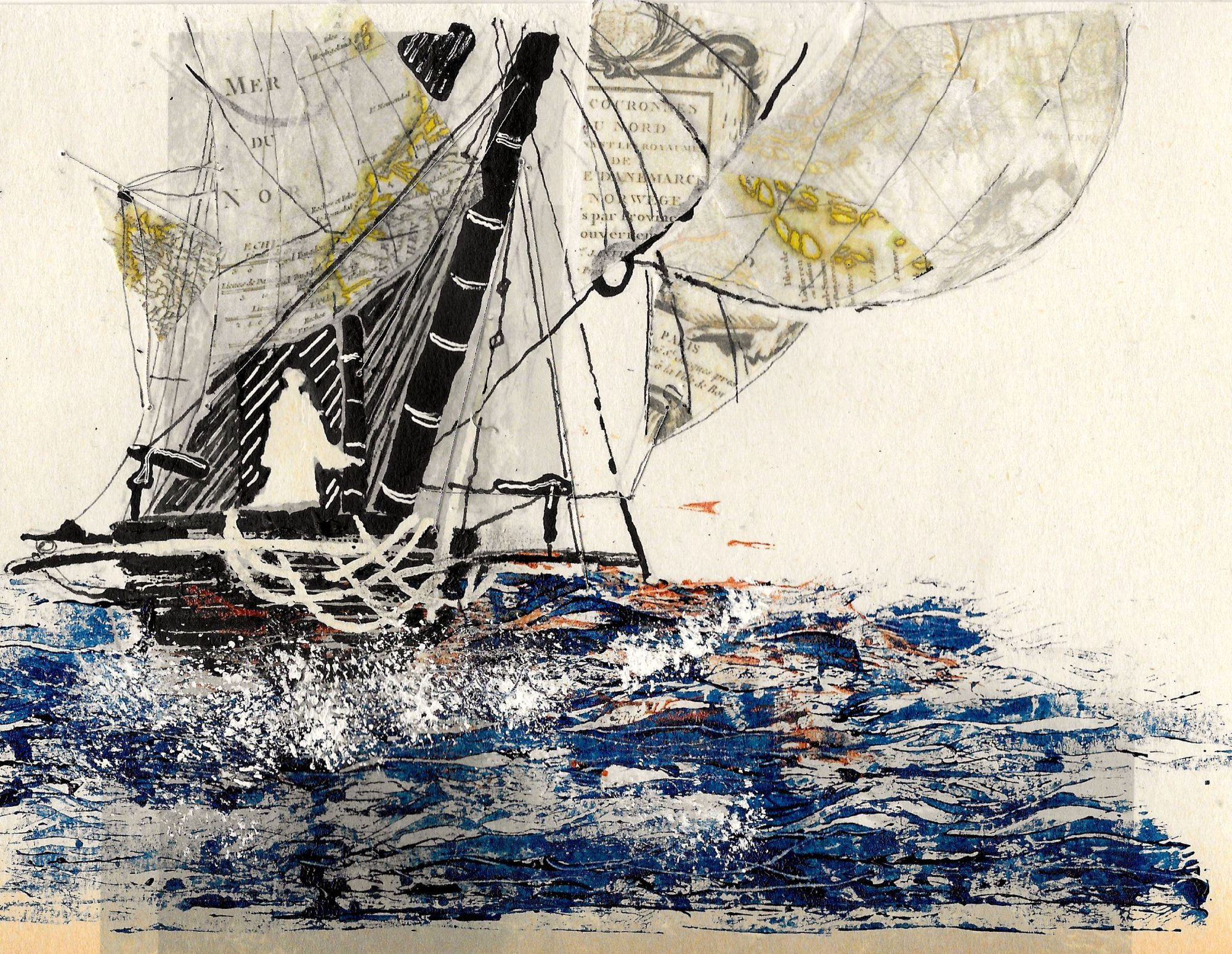 Illustration by Louisa Albani: collage of female figure on a ship at sea