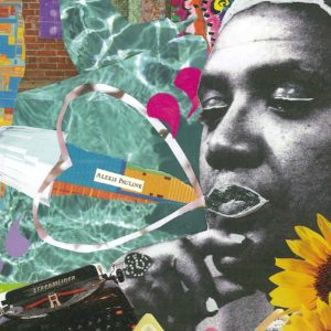 Colourful collage of Audre Lorde's photos and scraps like a typewriter, sunflowers and a wine glass
