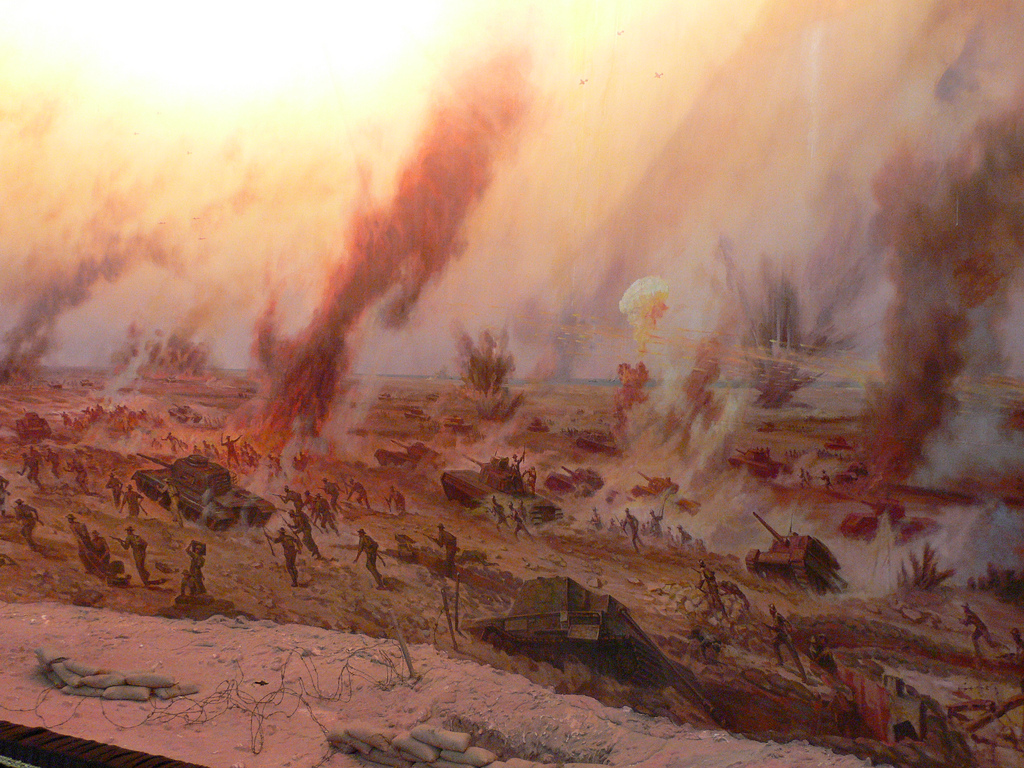 artist's impression of battle at El Alamein