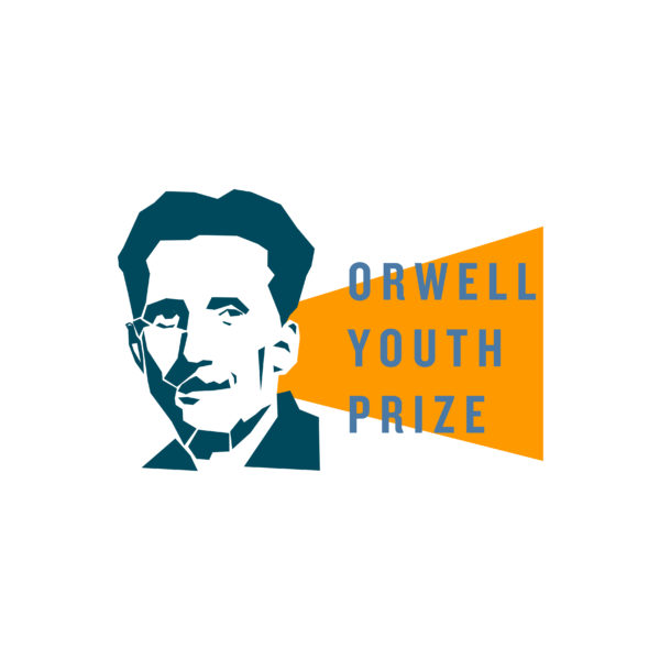Orwell Youth Prize logo: line-drawing of George Orwell on the left with a filled yellow triangle extending from his ear with the words 'Orwell Youth Prize' overlaid