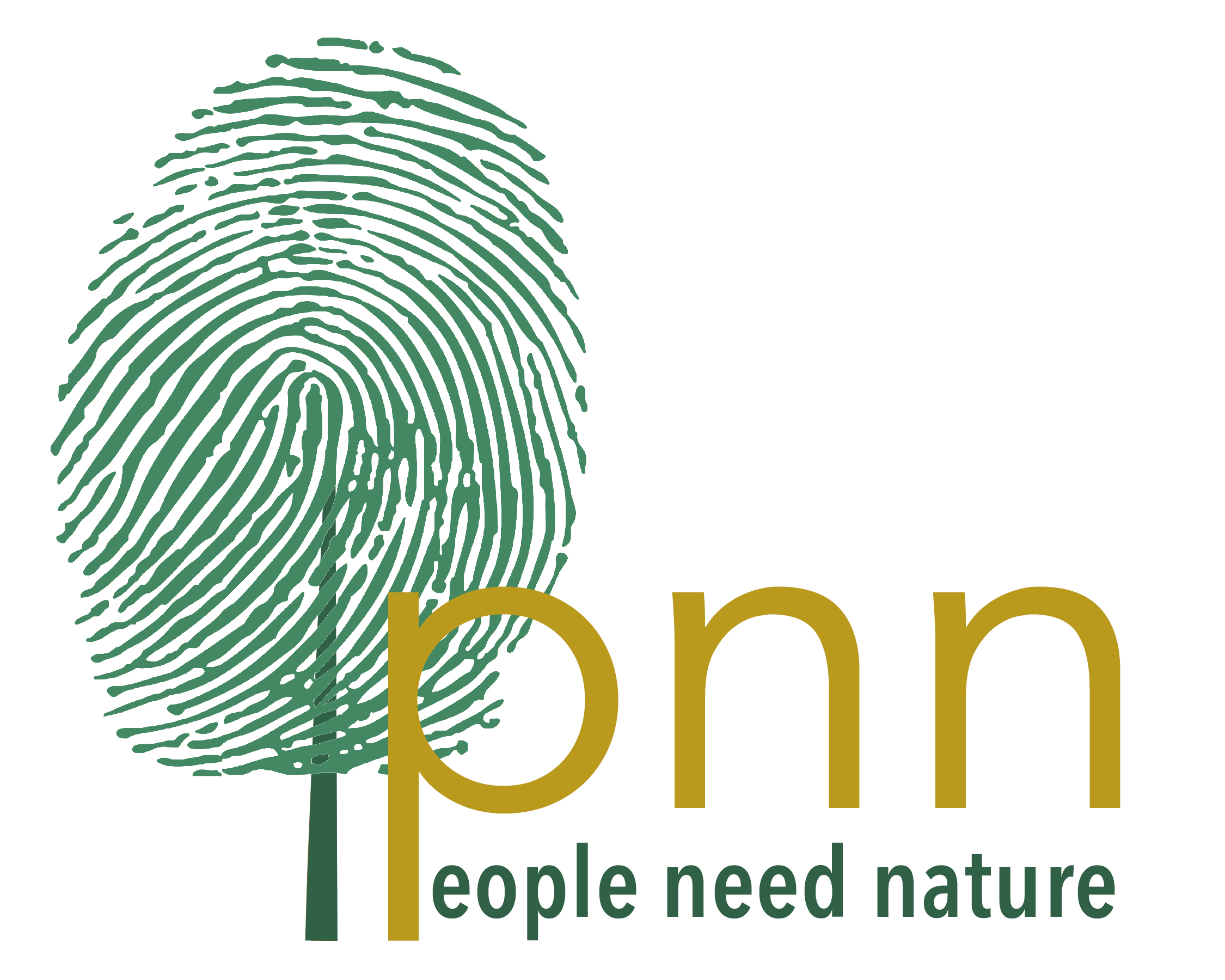 People Need Nature logo with a green fingerprint on a stem that looks like a tree