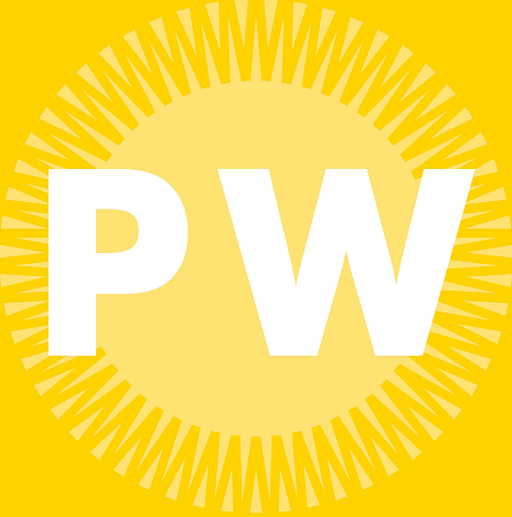 PW logo, PW in white font on a yellow background