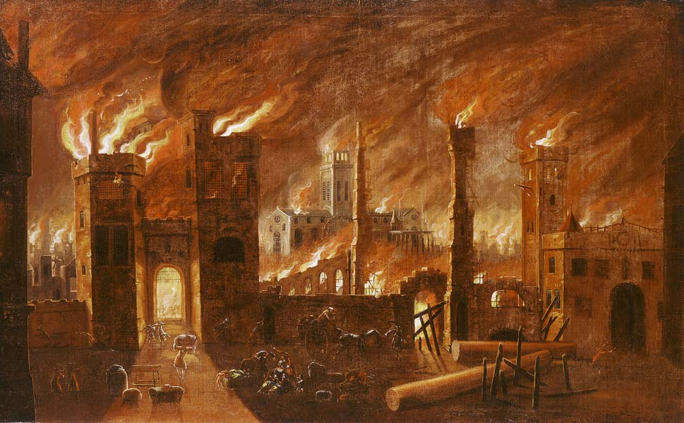 Oil painting of the Great Fire seen from Newgate, c1670-1678. Originally black with dirt, the painting was restored by William Jones c1910, revealing this vivid Great Fire scene.