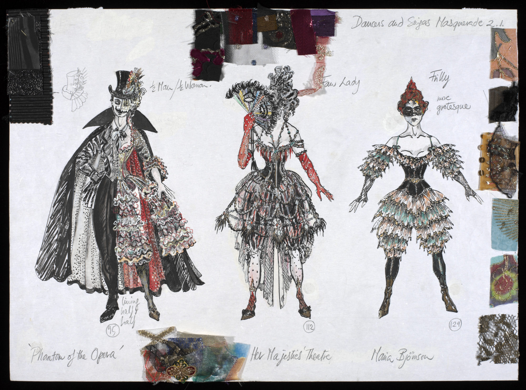 Costume Design for three dancers and singers in The Phantom of the Opera, the Masquerade Scene, 1986 Designed by Maria Björnson With the permission of the Maria Björnson Archive