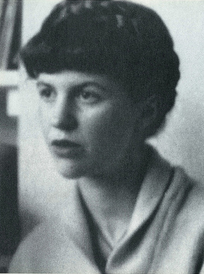 Sylvia Plath looks to one side