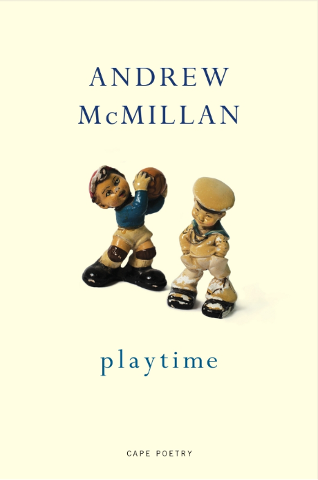 Cover for Andrew McMillan's book playtime. Two toy figures on a light yellow background.