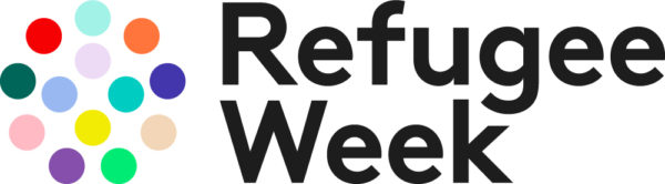 Refugee Week logo: dots to the left