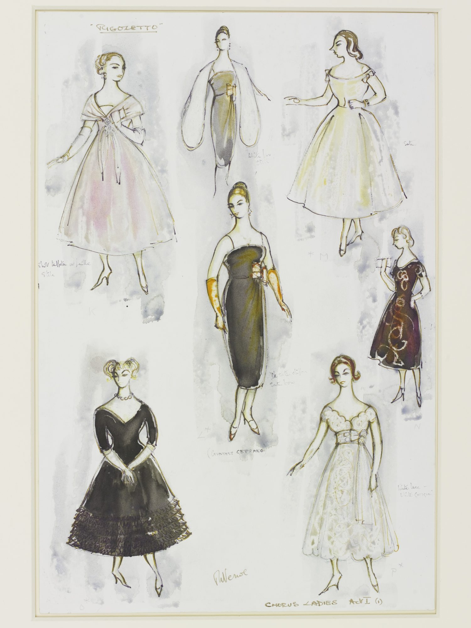 Costume Design for the Ladies Chorus in Rigoletto, 1982 Designed by Rosemary Vercoe