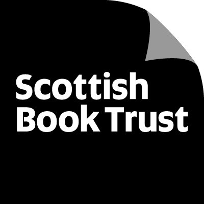 Scottish Book Trust logo: white text on black, with the top-right corner folded down