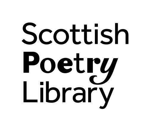 Scottish Poetry Library logo: black text on white background, with each letter of 'poetry' written in different fonts