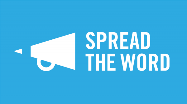 Spread the Word logo in white writing on blue background