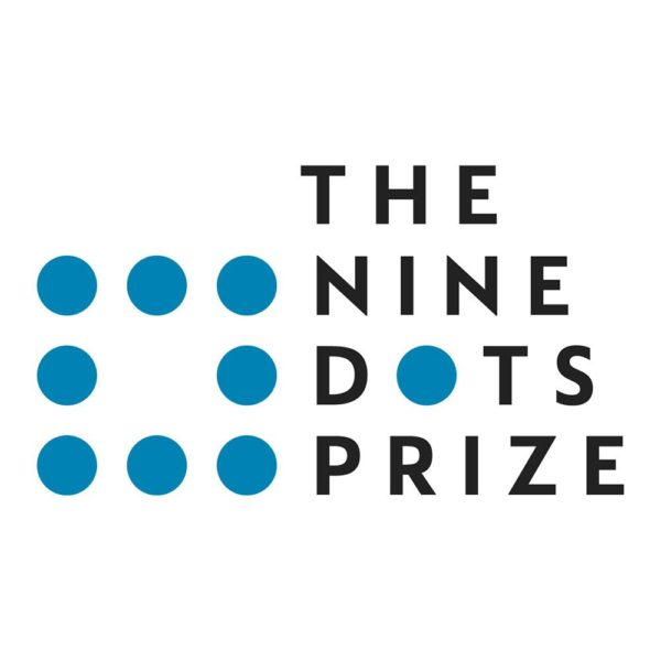 The Nine Dots Prize is written in black capital letters. There are 8 blue dots forming a square to the left of the text. The ninth blue dot forms the 'o' in the word 'dots'.
