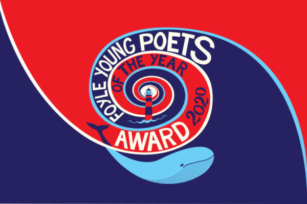 FYP logo 2020: a red and blue swirl with the text Foyle Young Poets of the Year Award 2020 and a blue whale smiling beneath it