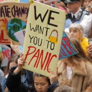 Photo of a school strike protest - in the foreground a girl holds a sign saying 'We want you to panic'