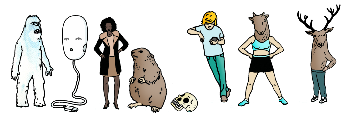 young poets network characters: yeti man, computer mouse, a black woman with her hand on her hips, a hamster, a skull, a white boy leaning to one side, a white woman standing arms akimbo, and a moose in trousers