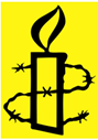 Amnesty international logo: yellow candle surrounded by barbed wire