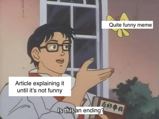"""is this a pigeon"" meme: anime character looks at buttefly. The butterfly is labelled ""quite funny meme""; the man is labelled ""Article explaining it until it's not funny"" and the subtitle/caption is ""Is this an ending?"""