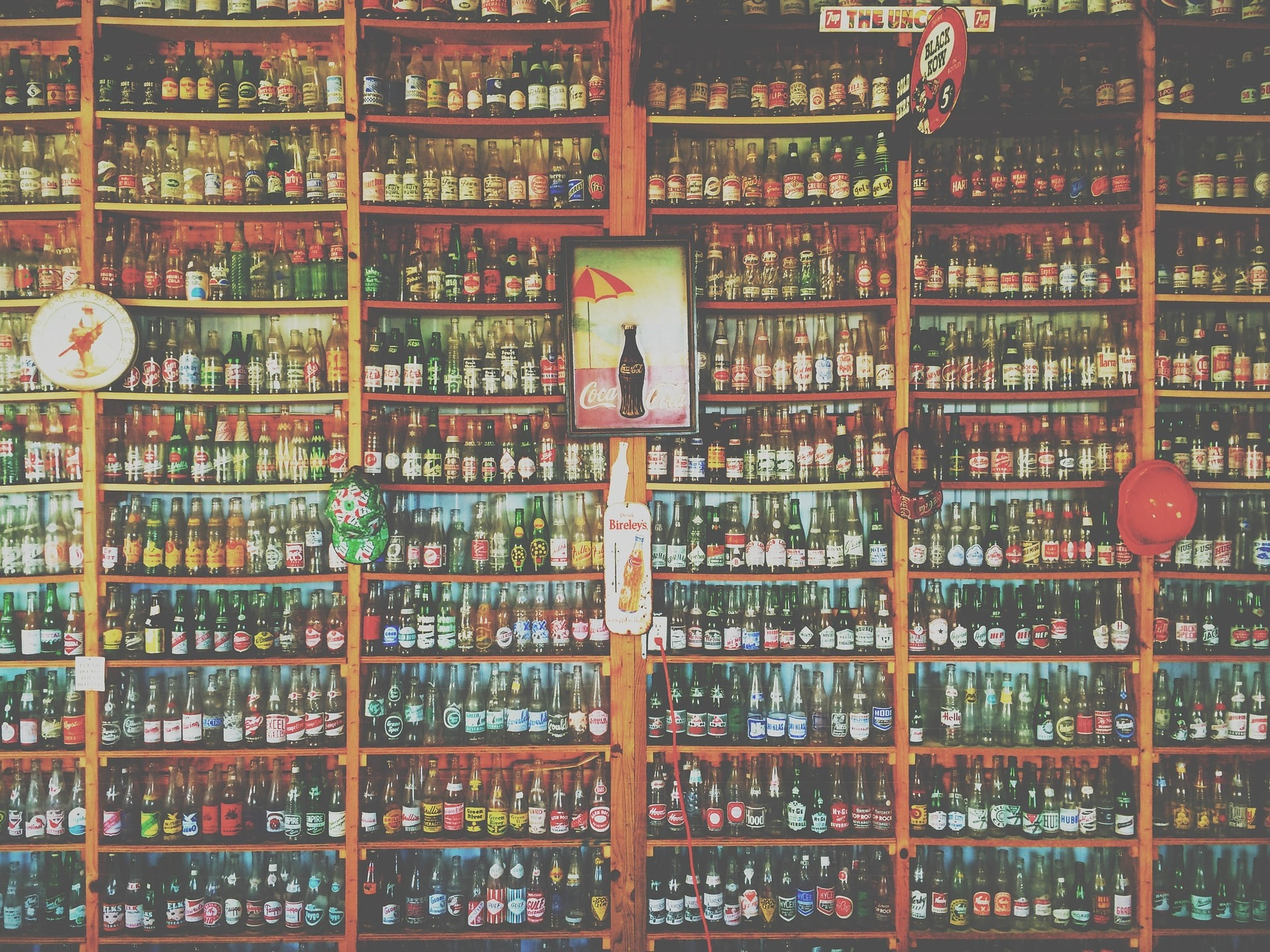 Image of a rack of coca cola bottles