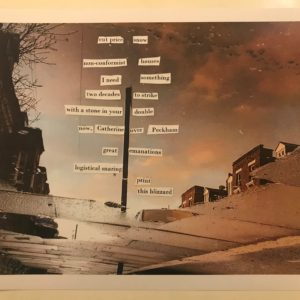 """collage: on a photo of a landscape are pasted found words which read """"cut price / snow / nonconformist / houses / I need / something / two decades / to strike / with a stone in your / double / now / Catherine / over Peckham / great / emanations / logistical snaring / print this blizzard"""""""