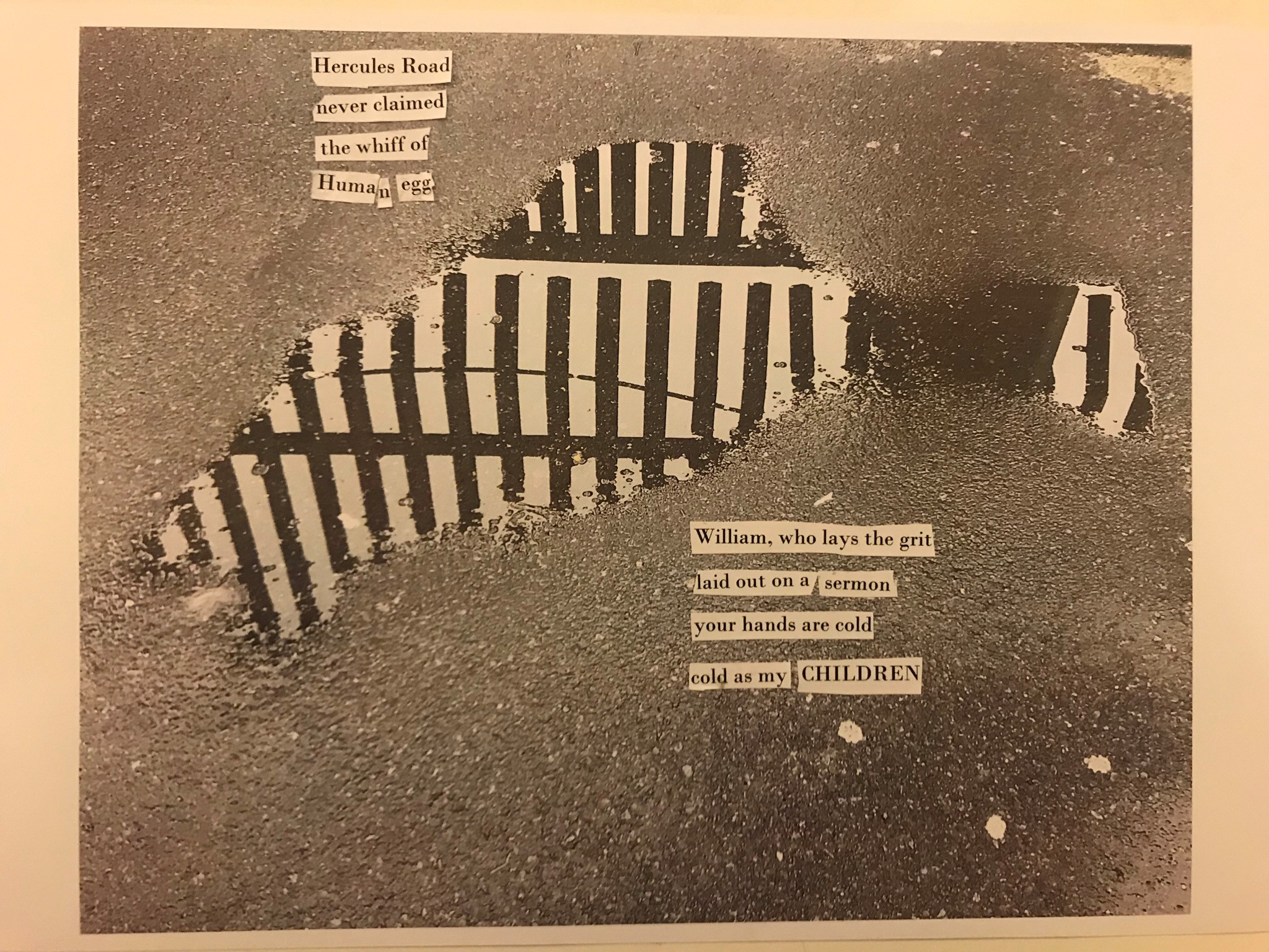 """collage: speckled dark background overlaid with a cut out of a photo of a fence and found text reading: """"Hercules Road never claimed the whiff of human egg"""" in the top left and bottom right: """"William, who lays the grit, laid ot on a sermon, your hands are cold, cold as my CHILDREN"""""""