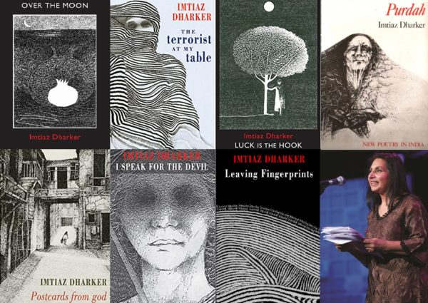 Composite image of seven book covers by Imtiaz Dharker and one image of Dharker performing on stage