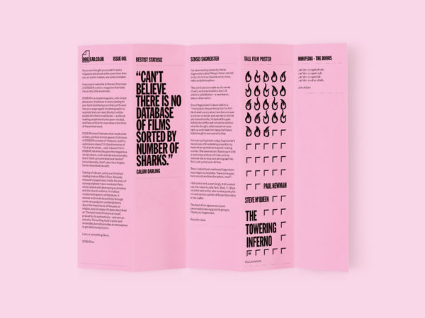 Image of Dog Ear magazine: a page concertina-ed into five folds with text or images on each side