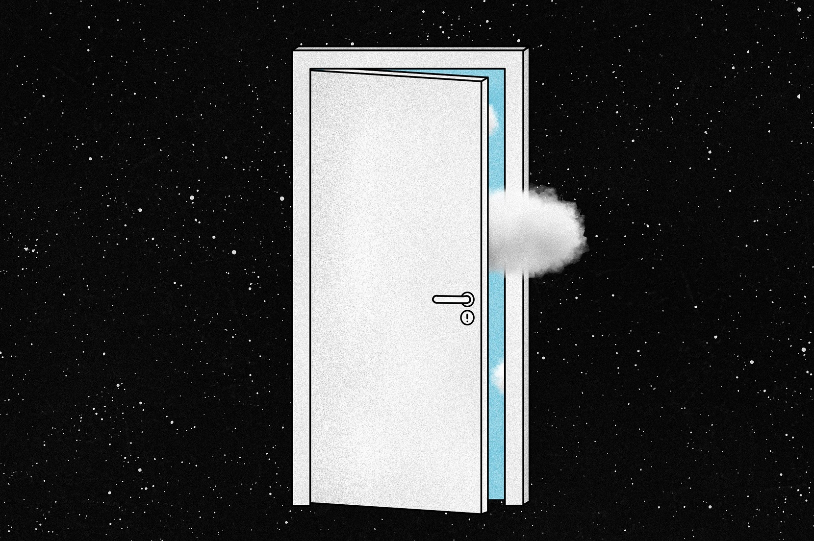 Drawing of a door opening onto a blue sky and a cloud in the middle of space