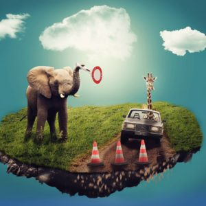 Dreamscape of a blue sky with clouds, and a floating bit of land with an elephant holding a road sign, a giraffe inside a car, and traffic cones