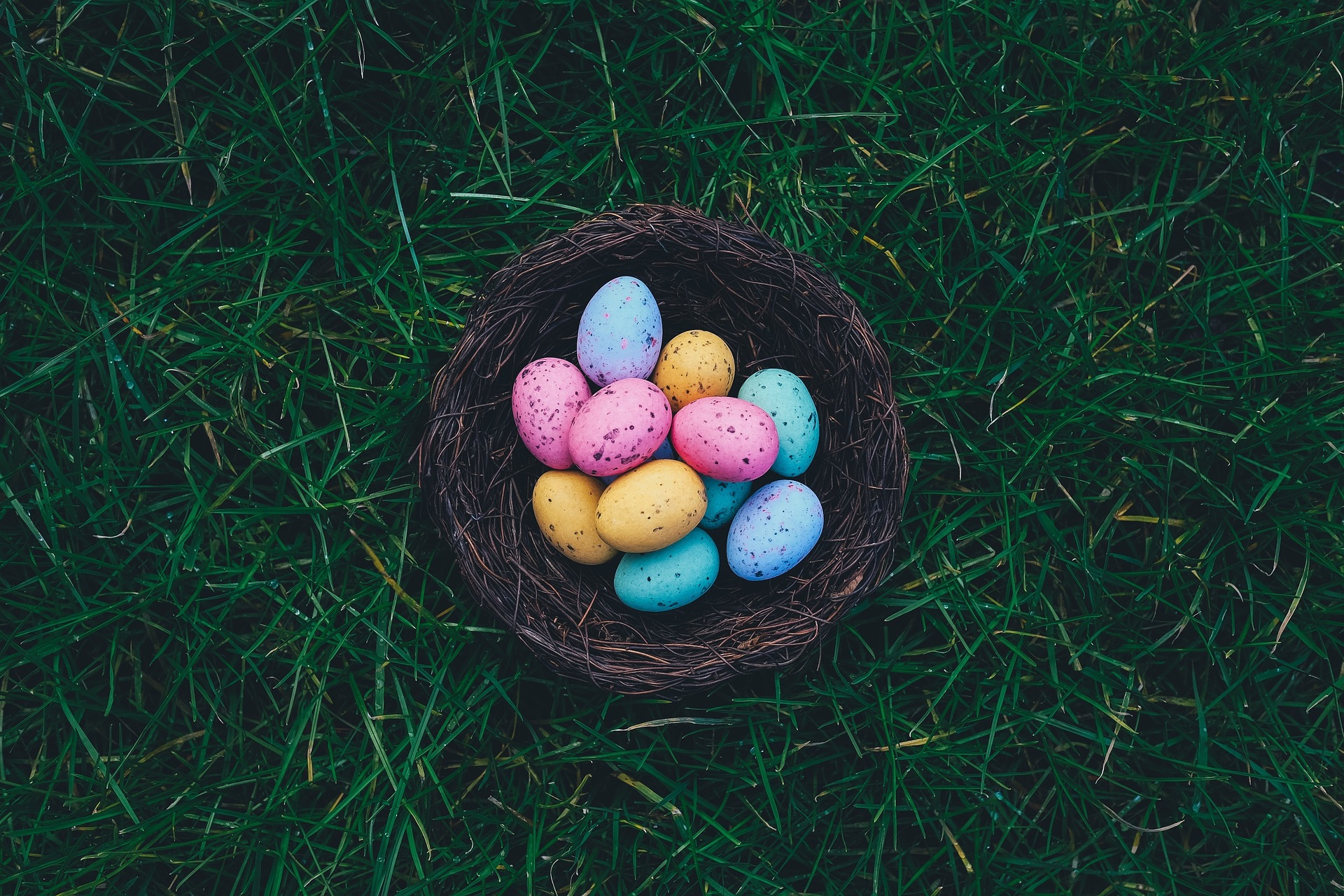 Photo of some mini eggs in a small basket on the grass